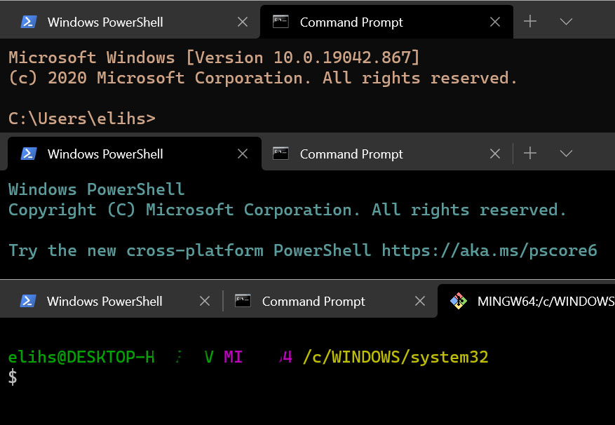 How to create different color shemes for windows terminal