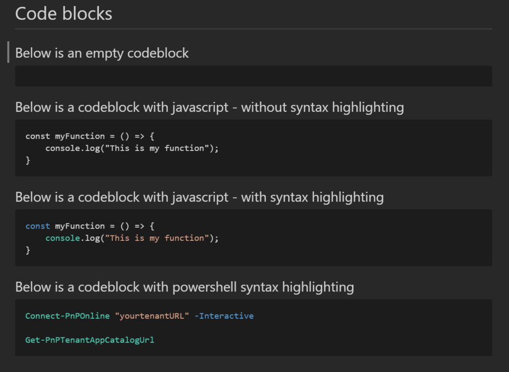 The image shows text with different formatting as an example of how it will look when you add syntax highlighting in markdown code blocks