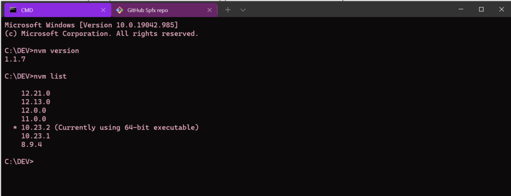 shows how to use nvm for windows to list all installed node versions