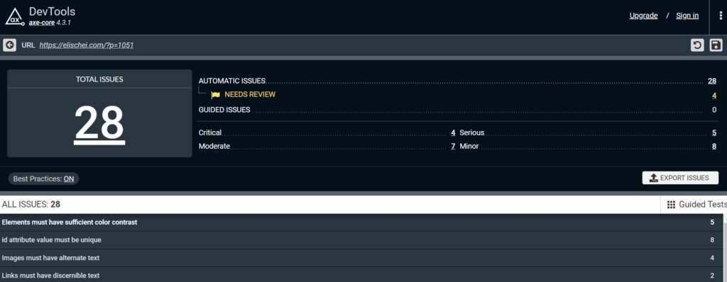 Screenshot of Axe Dev Tools tab that lists detected accessibility issues.