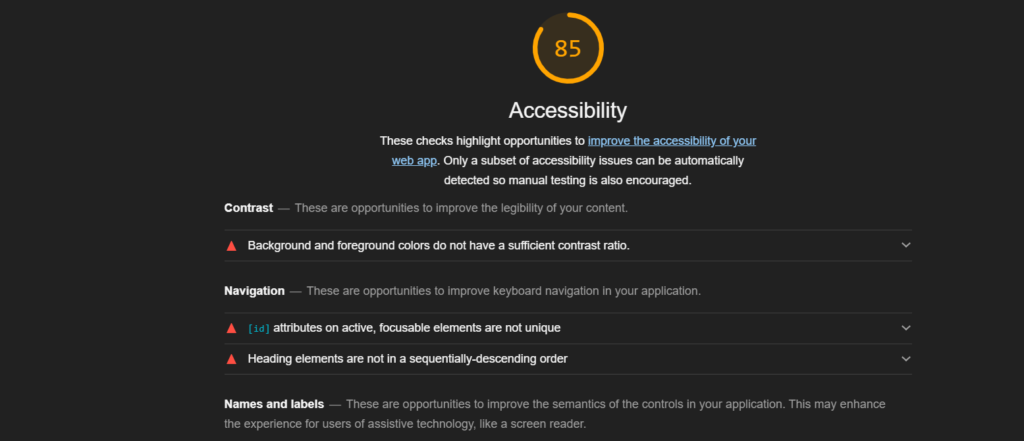 Screen shot of LightHousetab that lists detected accessibility issues.