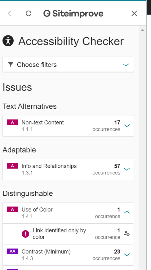 Screen shot of SiteImprove tab that lists detected accessibility issues.